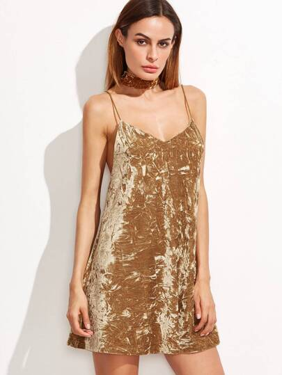 Mustard Crushed Velvet Cami Dress With Neck Tie