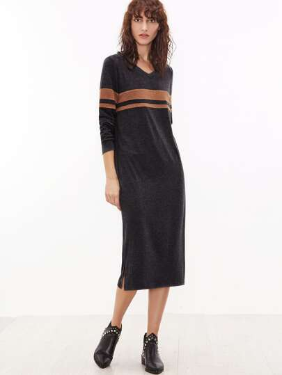 Dark Heather Grey V Neck Striped Long Sweatshirt Dress