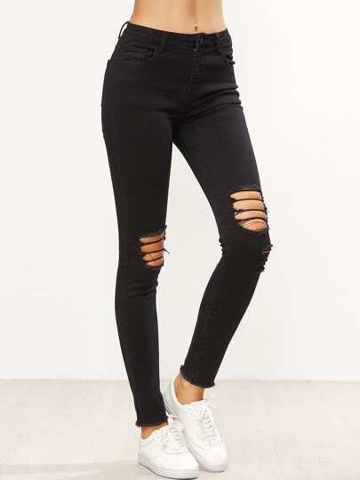 Skinny Jeans mit Knie Zerrissen Design-schwarz