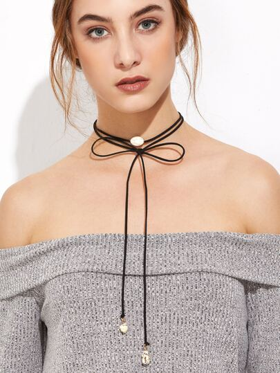 Black Gemstone Long Wrap Choker Necklace