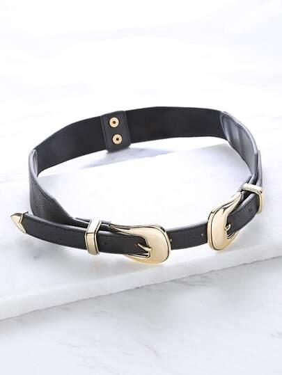 ceinture double noir avec boucle métal