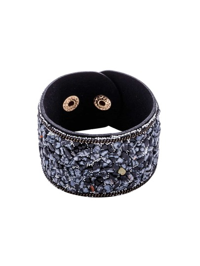 Black Faux Stone Beaded Wide Buckled Bracelet