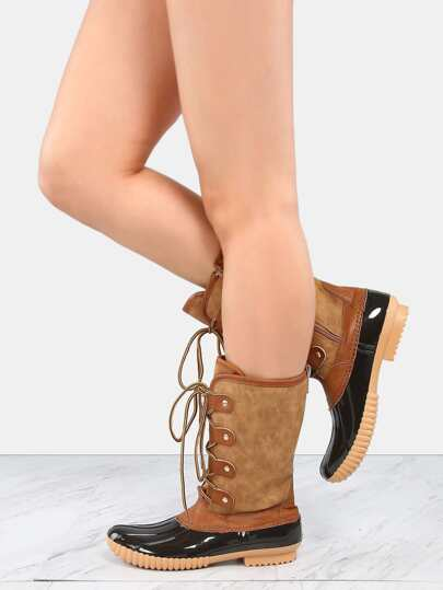 Lace Up Rubber Duck Boots TAN