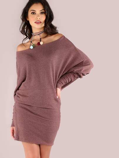 Slouchy Thermal Dolman Off The Shoulder Blouson Dress DUSTY PINK