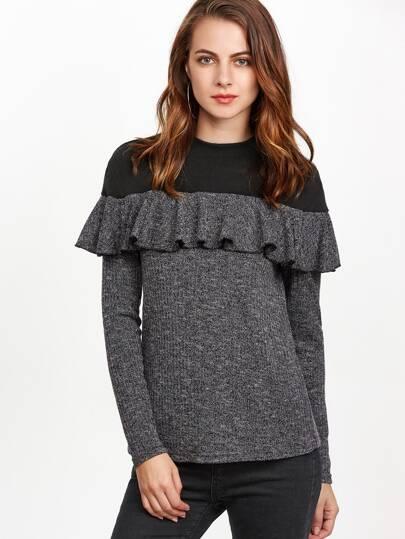 Black Marled Knit Contrast Yoke Ruffle T-shirt