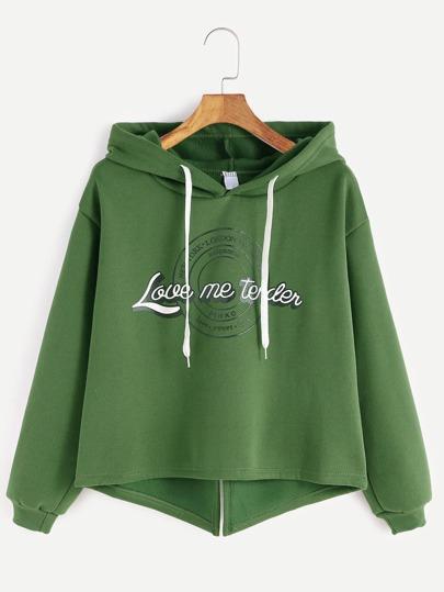 Green Hooded Letter Print High Low Slit Back Sweatshirt
