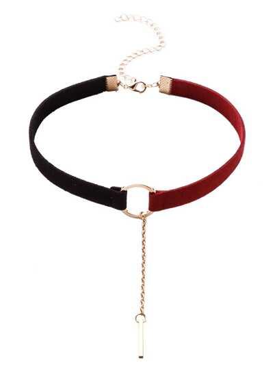 Collana Strozzatore Con Pendente Anello Di Metallo - Nero Rosso