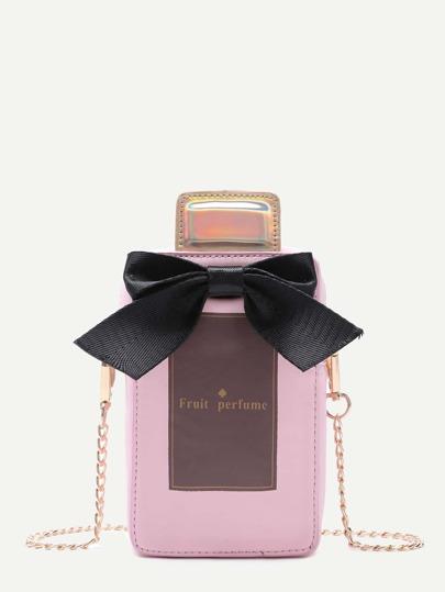 Pink PU Bow Perfume Crossbody Chain Bag