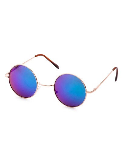 Gold Frame Reflective Lens Retro Style Sunglass