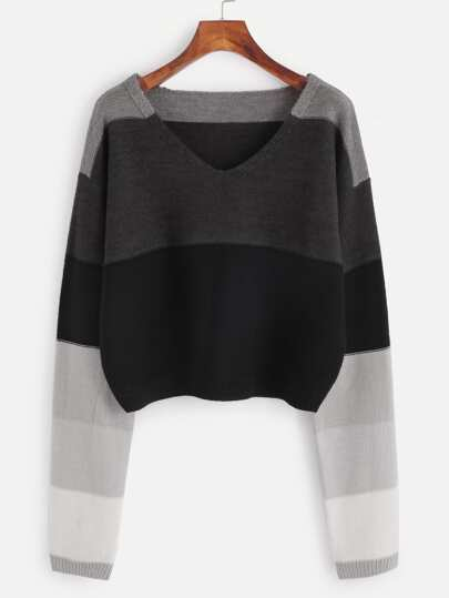 Color Block V Neck Crop Sweater
