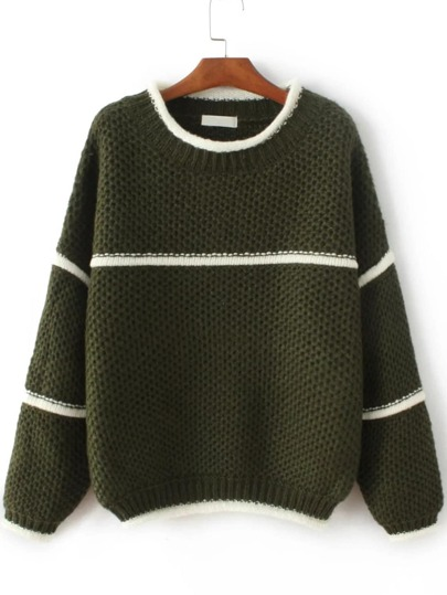 Army Green Contrast Trim Crew Neck Sweater