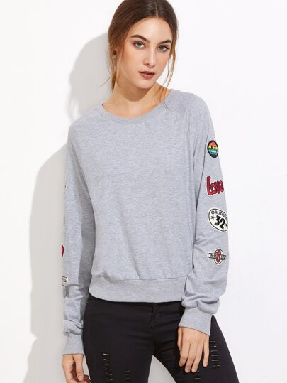 Sweatshirt mit Patch Detail Raglan Ärmel-hell grau