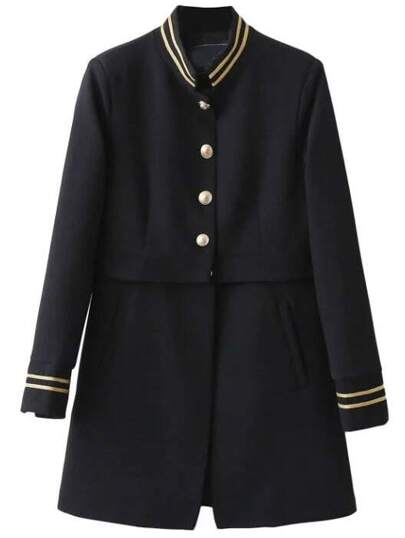 Striped Trim Single Breasted Long Coat
