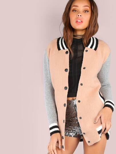 Colorblock Varsity Knit Sweater Bomber Jacket PINK