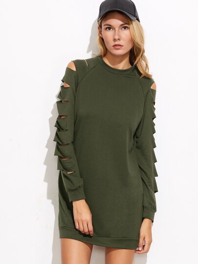 Army Green Ladder Cut Out Sleeve Sweatshirt Dress