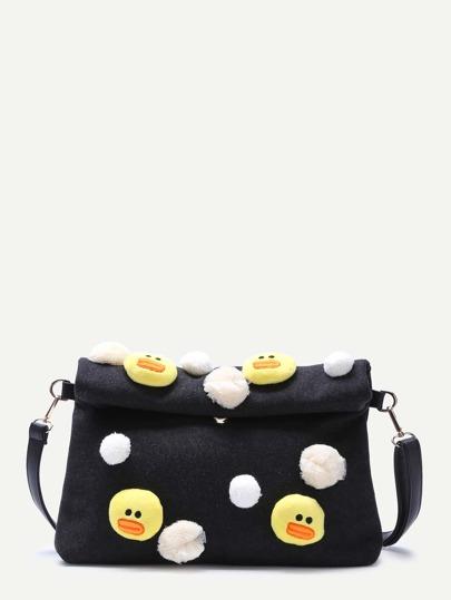 Black Embellished Roll Top Woolen Shoulder Bag With Little Chicken Detail