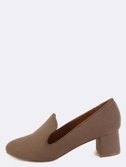 Almond Toe Faux Suede Loafers TAUPE