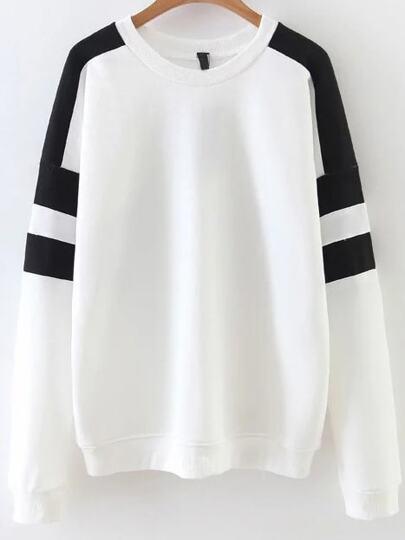 White Color Block Drop Shoulder Sweatshirt