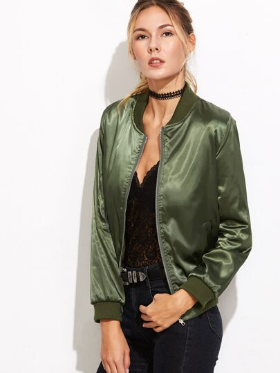 Army Green Sleeve Zip Detail Quilted Bomber Jacket