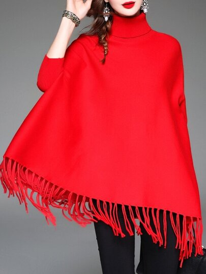 Red High Neck Tassels Cape Blouse