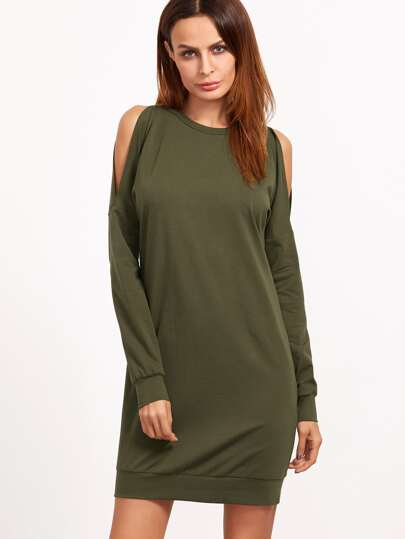 Olive Green Open Shoulder Sweatshirt Dress