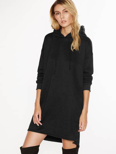 Black Hooded Slit Side Sweatshirt Dress