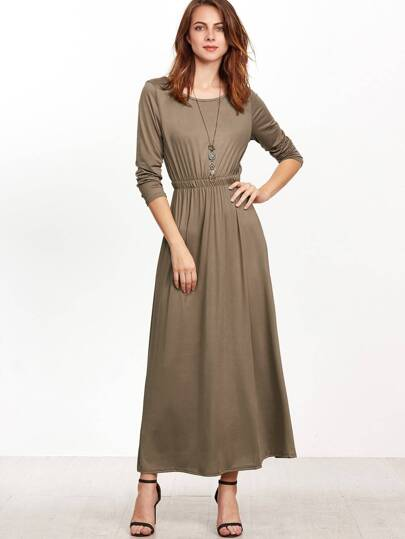 Camel Elastic Waist A-Line Dress