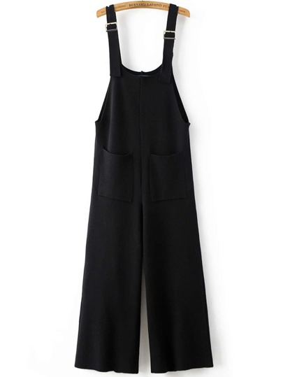 Black Front Pocket Knit Overall Pants