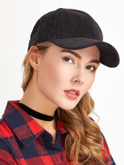 Black Corduroy Warm Baseball Cap
