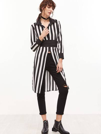 Contrast Vertical Striped Slit Side Shirt With Belt
