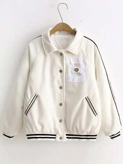 White Contrast Trim Raglan Sleeve Coat With Patch