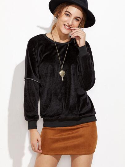 Black Zipper Trim Velvet Sweatshirt