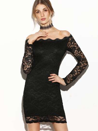 Black Scallop Off The Shoulder Sheer Sleeve Lace Dress
