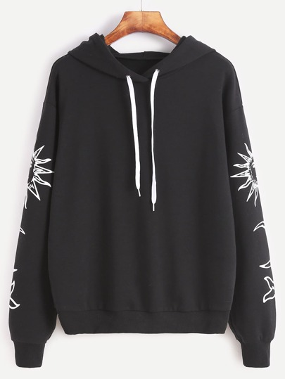 Black Vintage Graphic Print Drop Shoulder Hoodie