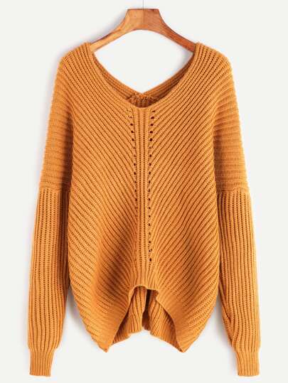 Khaki Double V Neck Drop Shoulder Dip Hem Sweater