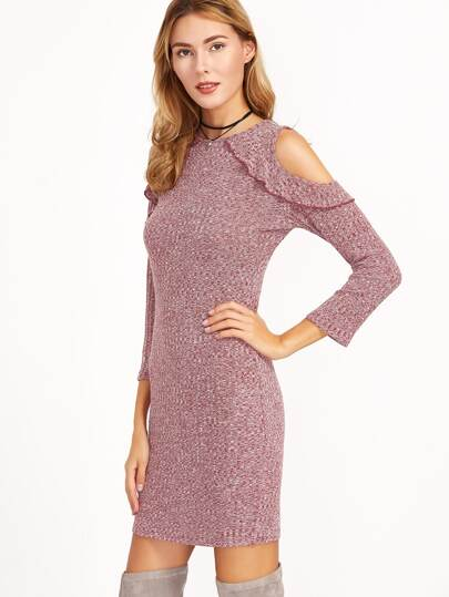 Burgundy Marled Knit Open Shoulder Ruffle Trim Dress