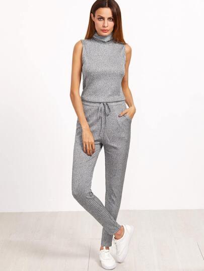Grey Marled Ribbed Knit Sleeveless Drawstring Waist Jumpsuit