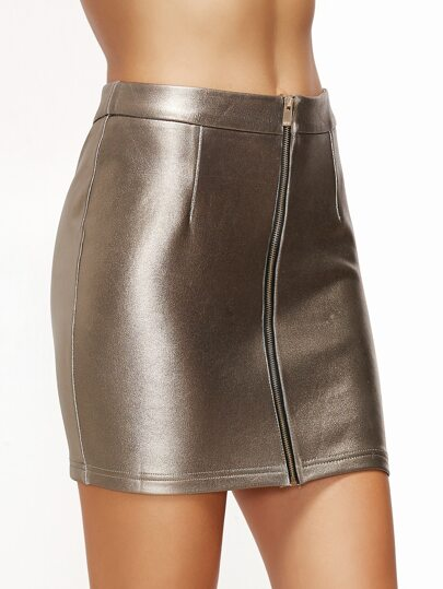 Metallic Champagne Zip Front Bodycon Skirt