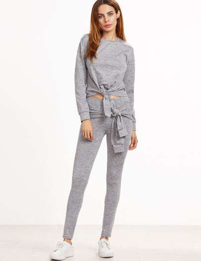 Grey Marled Knit Tie Front Loungewear Set