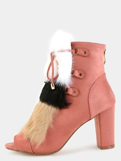 Tri-Color Faux Fur Peep Toe Boots ROSE