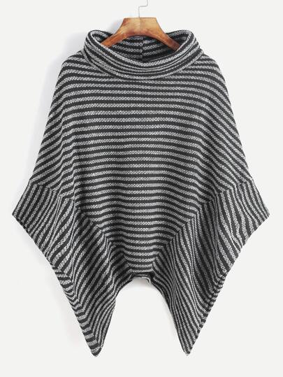 Contrast Striped Turtleneck Asymmetric Hem Poncho Coat