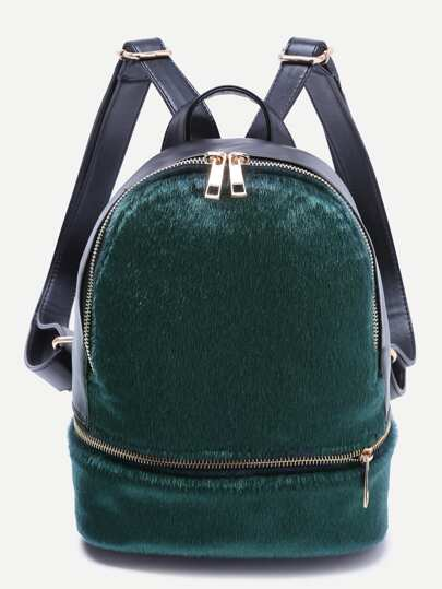 Green Faux Fur Covered Zip Front Backpack