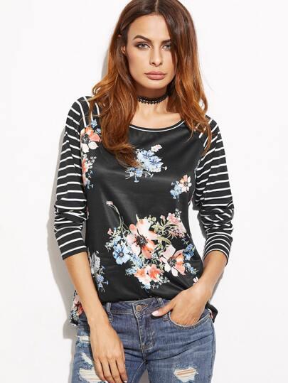 Camiseta de rayas de manga raglán con estampado floral - negro