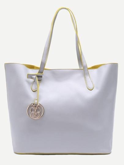 Light Grey PU Simple Tote Bag