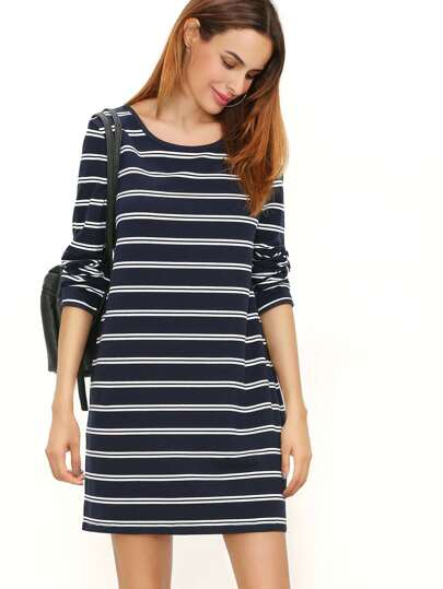 Navy And White Striped Scoop Neck Tee Dress