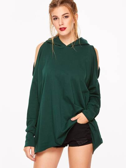 Dark Green Open Shoulder Slit Back Oversized Hoodie