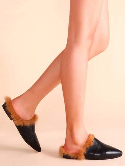 chaussures plates en fausse fourrure bout pointu avec cuir artificiel noir