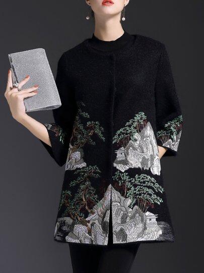 Black Crew Neck Embroidered Pockets Coat