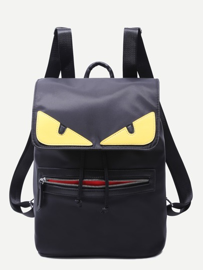 Oversized Black Fendi Monster Zip Front Nylon Backpack
