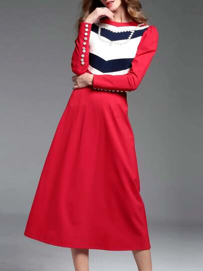 Red Color Block Beading A-Line Dress